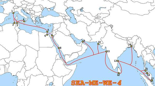 Route des Seekabels Sea-Me-We 4, das 2005 von Alcatel- Lucent und Fujitsu konstruiert wurde