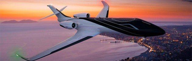 Verschiedene Ansichten des Ixion Private Jet, die auf der Webseite von Technicon Design zu sehen sind.