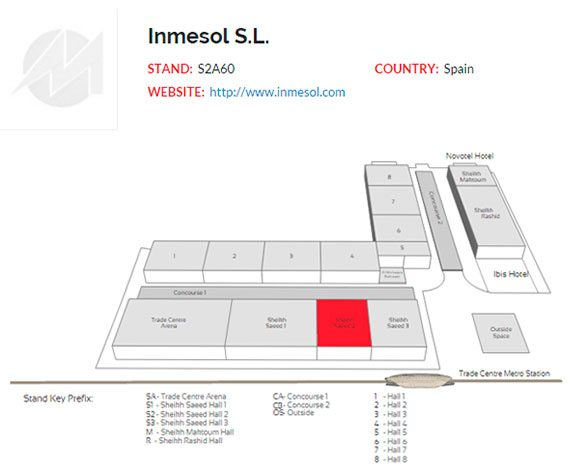 Lage des INMESOL Messestandes innerhalb des Dubai World Trade Centre