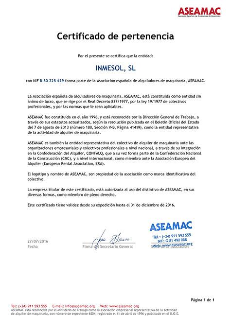 ASEAMAC, Zertifikat Mitgliedschaft
