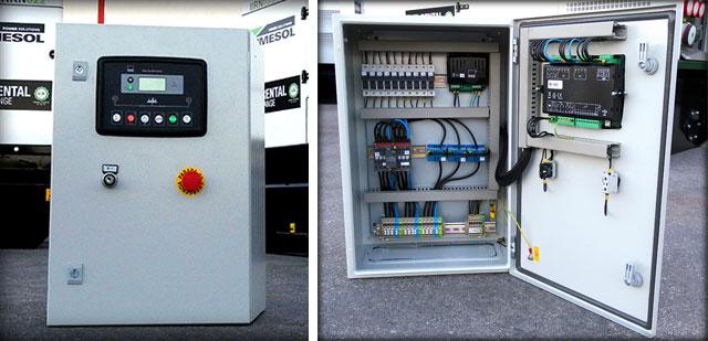 Schalterdkasten und DSE334 Schalttafel, an die die Aggregate angeschlossen werden