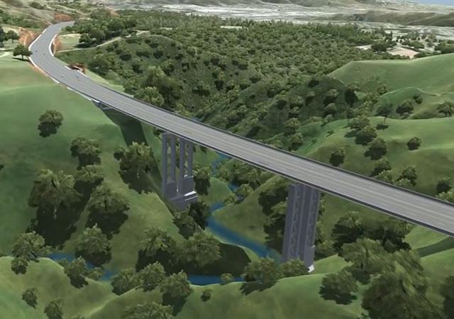 Infografik des Brücken-Teilabschnittes der zukünftigen Gully-Autobahn