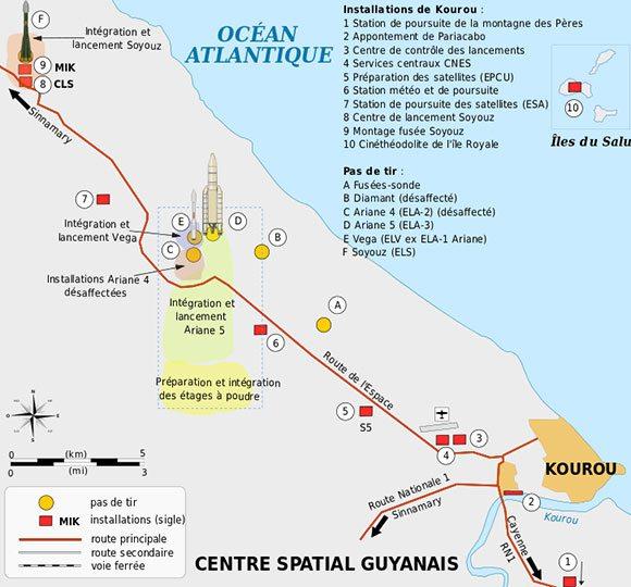 Lageplan der Startrampen. Bild: Wikipedia