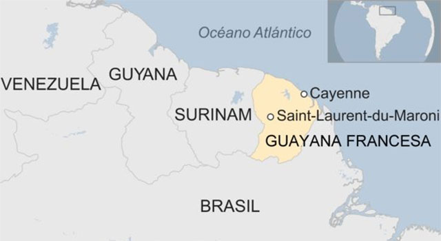 Lageplan des Europäischen Weltraumzentrums in Kourou bzw. Raumfahrtzentrum Guayana