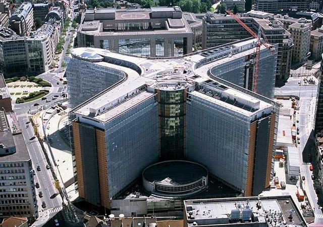 Copyright des Bildes: Europäische Union Das Gebäude des Berlaymont aus der Luft betrachtet